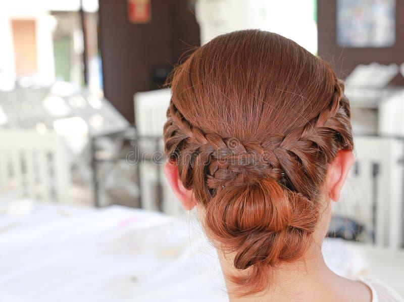 Rear view of beautiful bridal haircut.  royalty free stock photography