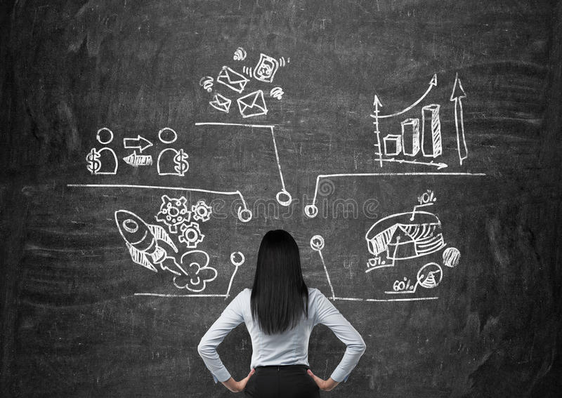 Rear view of a business woman who is looking at the charts, pie chart, business icons which are drawn on the black chalkboard. A concept of about business vector illustration
