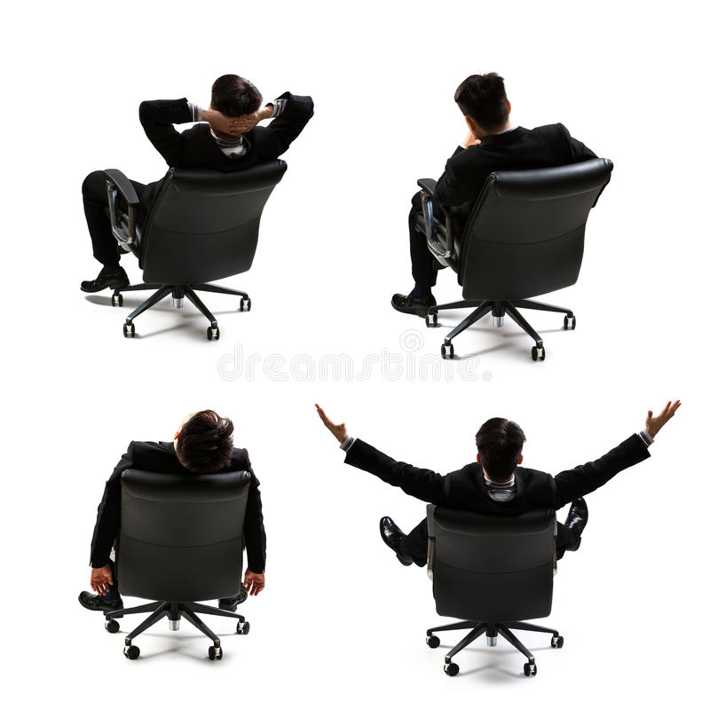 Rear view of businessman. Collection rear view of businessman sitting on the chair stock photography