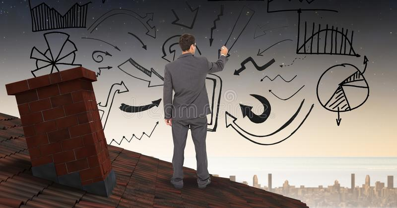 Rear view of businessman drawing graphics on roof. Digital composite of Rear view of businessman drawing graphics on roof stock illustration