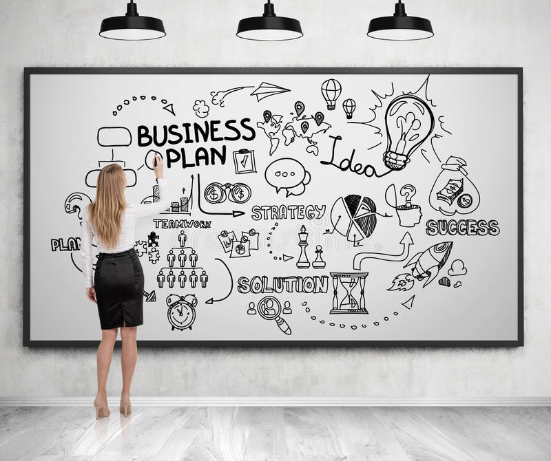Rear view of businessman looking at business plan. Blond woman in a suit drawing a business plan sketch on a whiteboard. Concept of strategic thinking. 3d royalty free illustration
