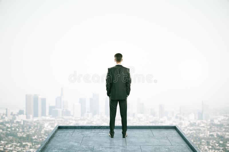 Attractive businessman on rooftop. Rear view of businessman looking into the distance on rooftop with daylight city view. Copy space. Success, vision and future royalty free stock photo