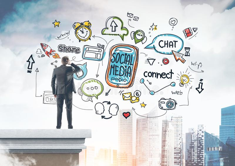 Rear view businessman scratching head social media stock photography