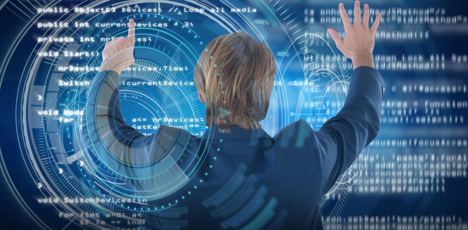 Composite image of rear view of businessman using imaginary screen interface. Rear view of businessman using imaginary screen interface against digitally royalty free stock photos