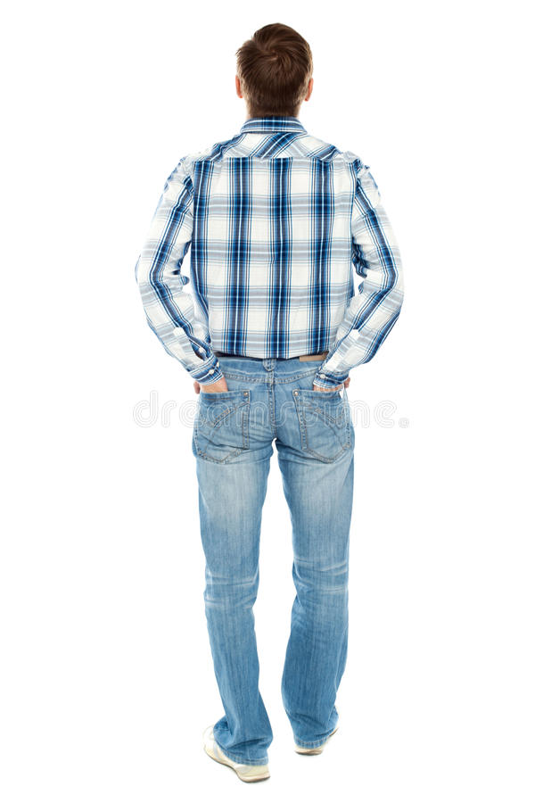 Download Rear View Of Casual Male Looking Upwards Stock Photo - Image of isolated, pocket: 25261654
