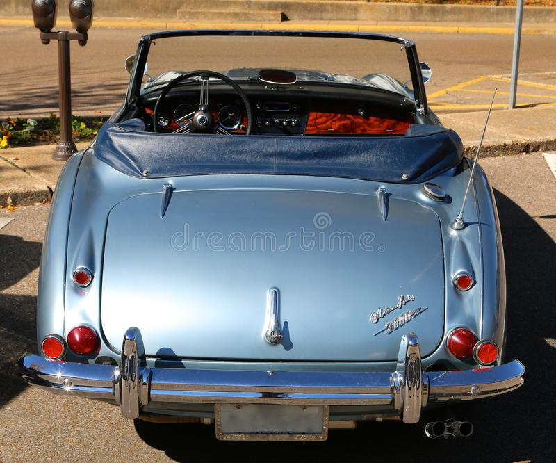 Rear View Of A Classic Antique blue Austin Healey royalty free stock image