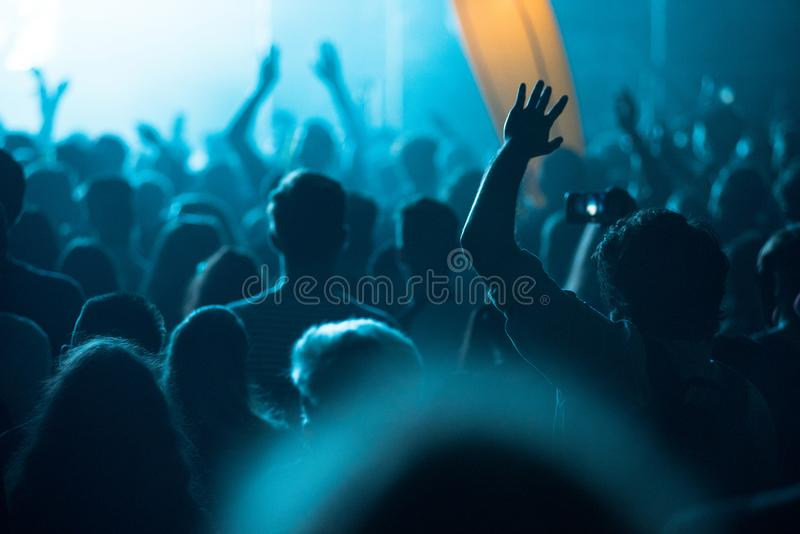 Rear view of concert crowd royalty free stock photo