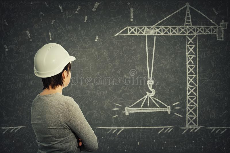 Woman engineer craner royalty free stock photos