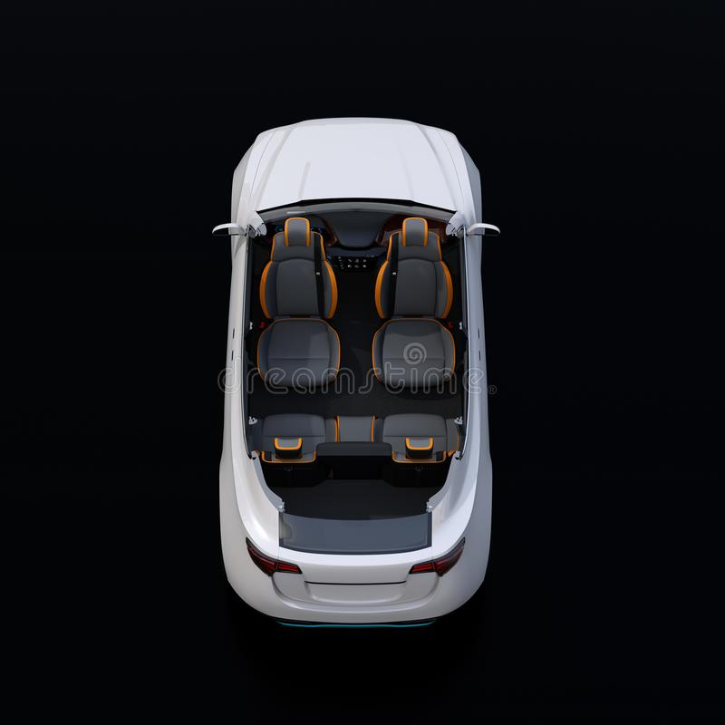Rear view of cutaway white self-driving Electric SUV car on black background stock illustration