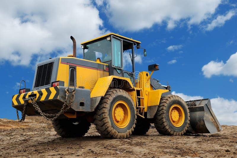 Rear view of diesel wheel loader bulldozer stock image