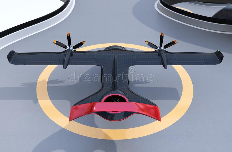 Rear view of E-VTOL passenger aircraft on airport parking area vector illustration
