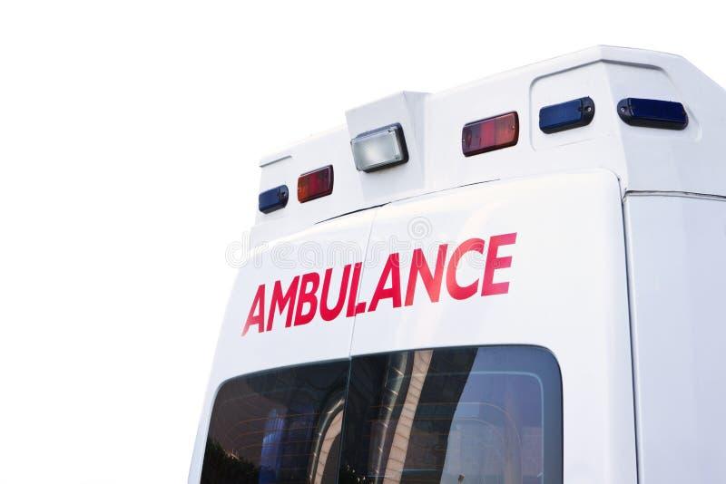 Ambulance. Rear view of an emergency ambulance royalty free stock image