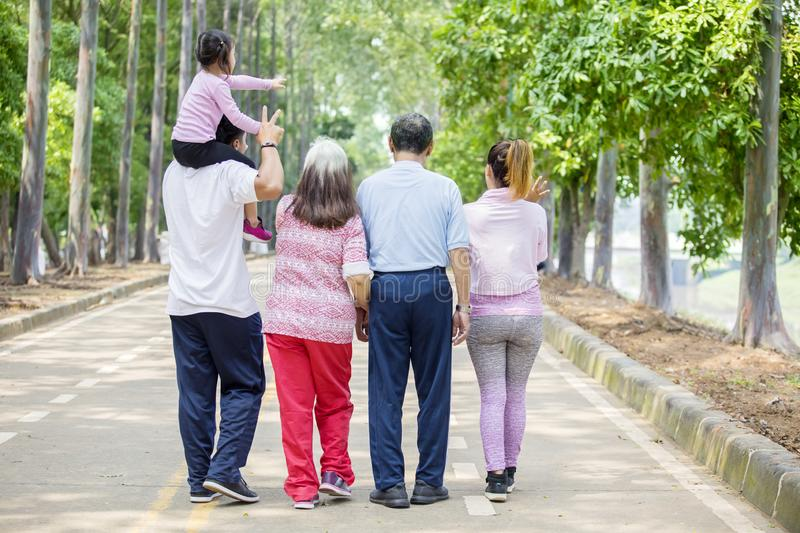 Rear view of extended family walking on the road. Rear view of extended family enjoys leisure time while walking together on the road royalty free stock photos