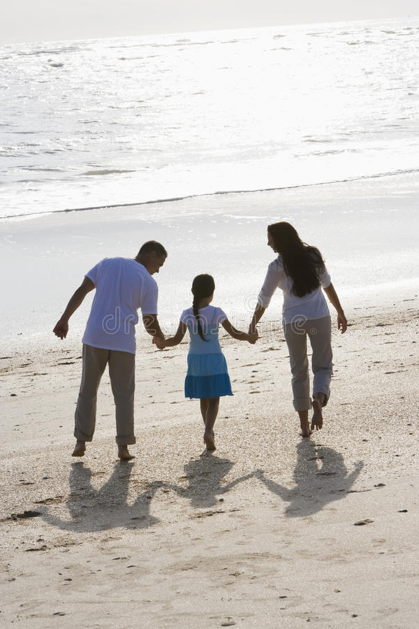 Download Rear View Of Family Holding Hands Walking On Beach Stock Image - Image of latin, rear: 14769907