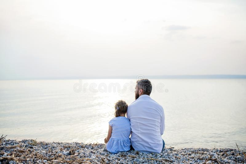 Rear view of father and small daughter on a holiday sitting by the lake. stock photo