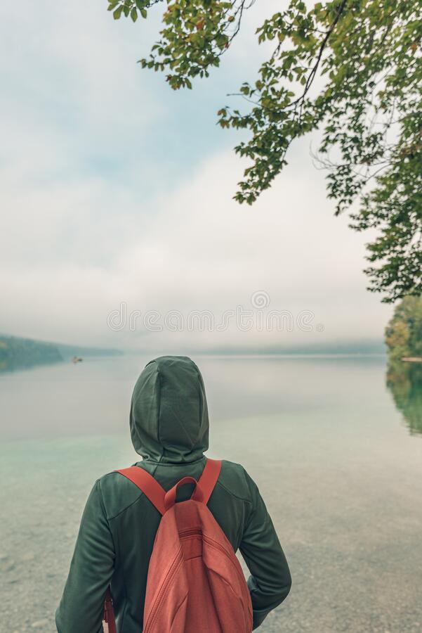 Rear view of female hiker enjoying the view of lake stock images