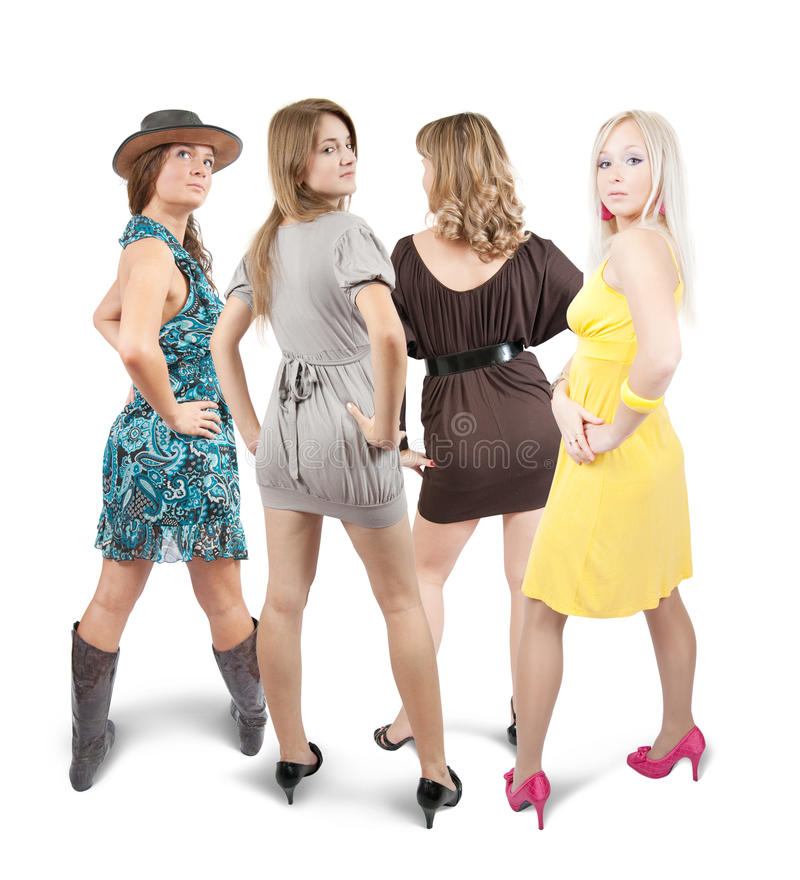 Download Rear view of four girls stock photo. Image of lady, clothing - 13347530