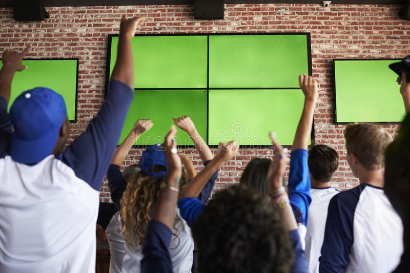 Rear View Of Friends Watching Game In Sports Bar Celebrating royalty free stock photography
