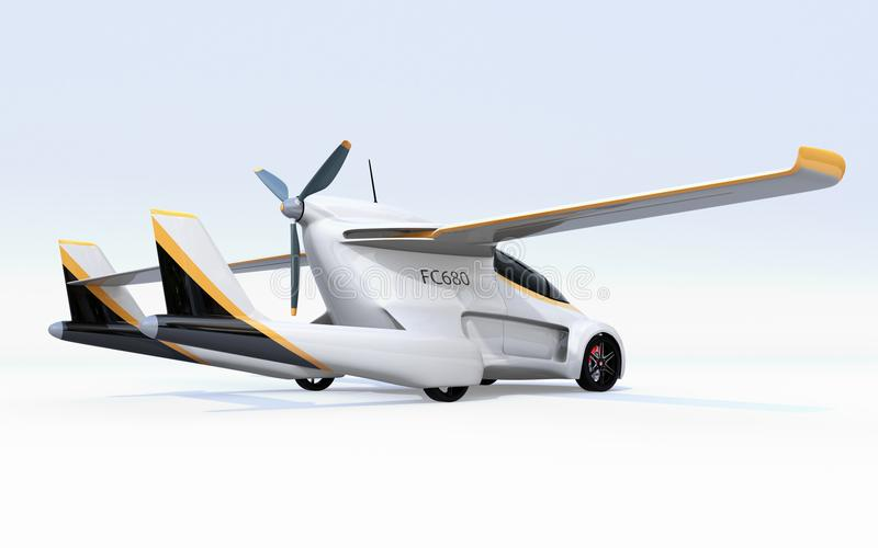 Rear view of futuristic autonomous car on white background. Flying car concept. 3D rendering image royalty free illustration