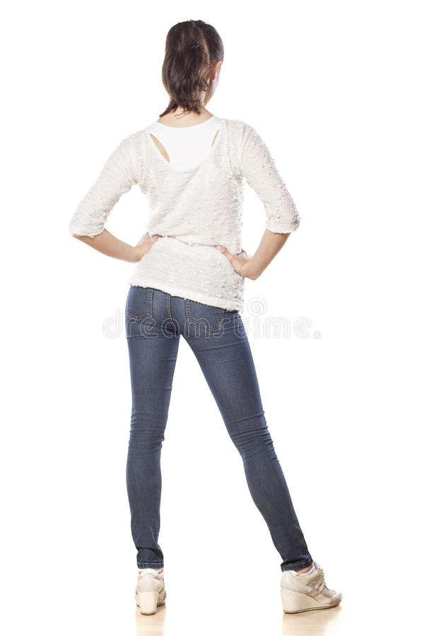 Rear view of a girl royalty free stock photo