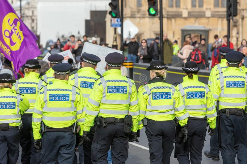 Rear View of Group of Metropolitan Police Officers royalty free stock photos