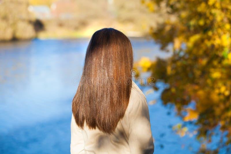 Rear view, Hair beauty little girl model. Street outdoors stock photo