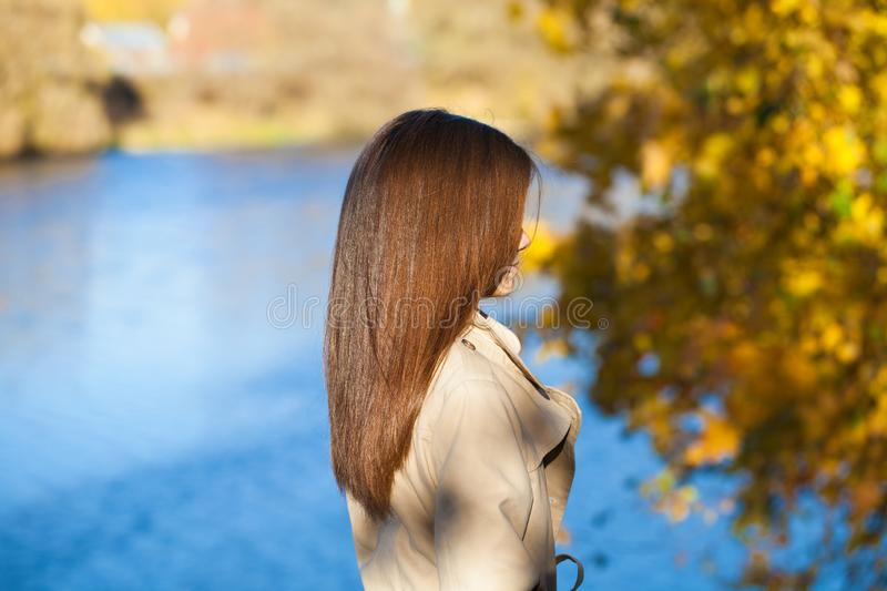 Rear view, Hair beauty little girl model. Street outdoors royalty free stock photos