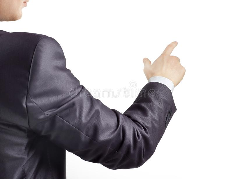 Rear view. hand of a businessman pointing at a copy space.  royalty free stock photos