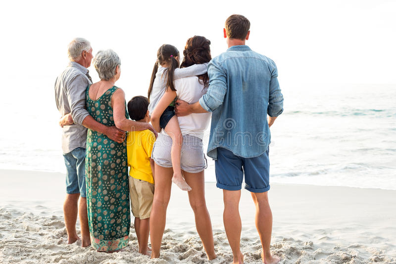 Rear view of a happy family posing at the beach stock photography