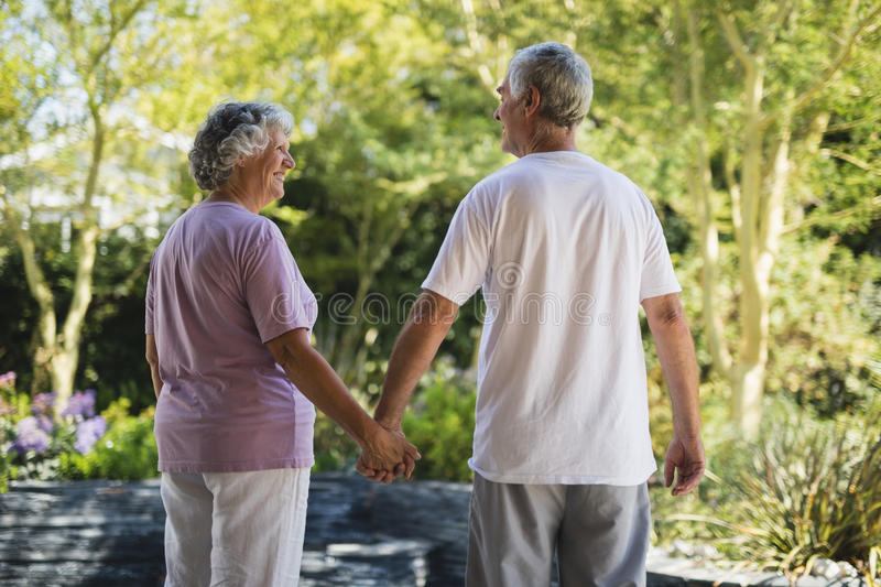 Rear view of happy senior couple holding hands while standing at park royalty free stock photography