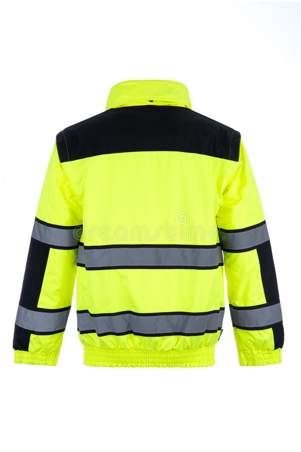 Rear View of a High-Visibility Rain Jacket royalty free stock image