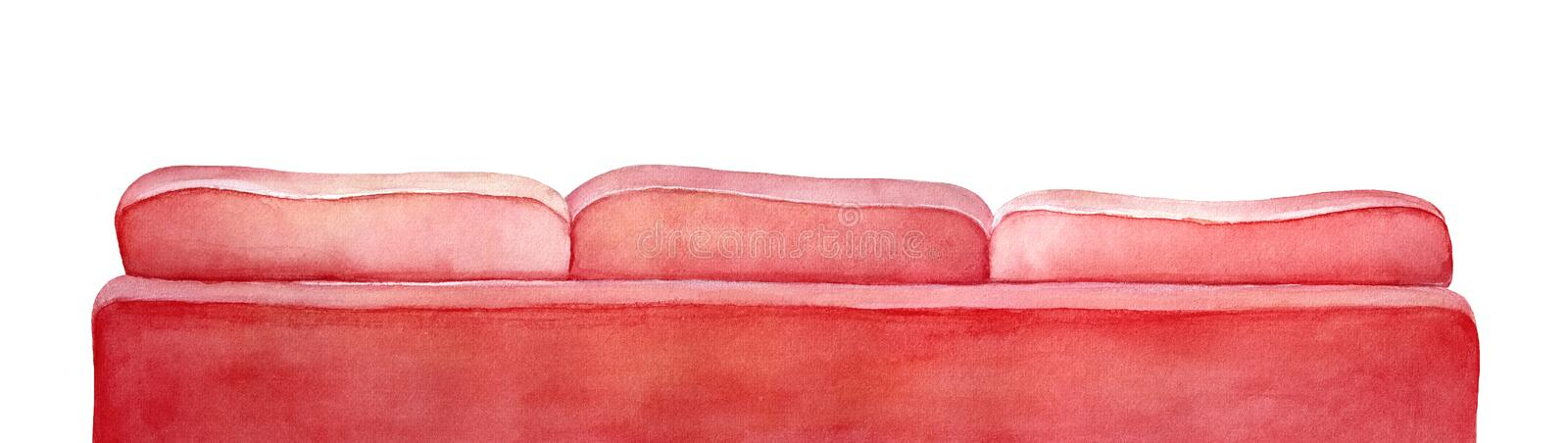 Rear view of large classic comfortable sofa. stock illustration