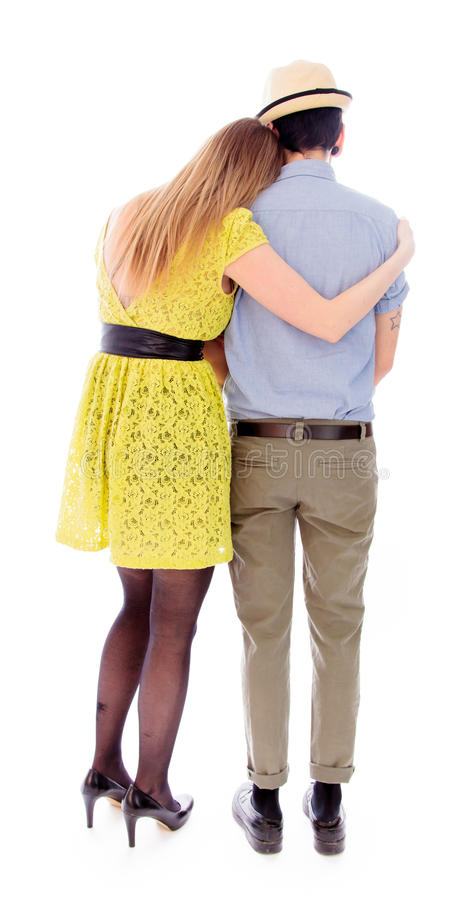 Rear view of a lesbian couple romancing royalty free stock photography