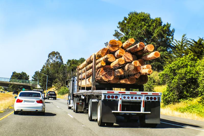 Rear view of logging semi truck loaded with large logs traveling on highway with other vehicles royalty free stock images