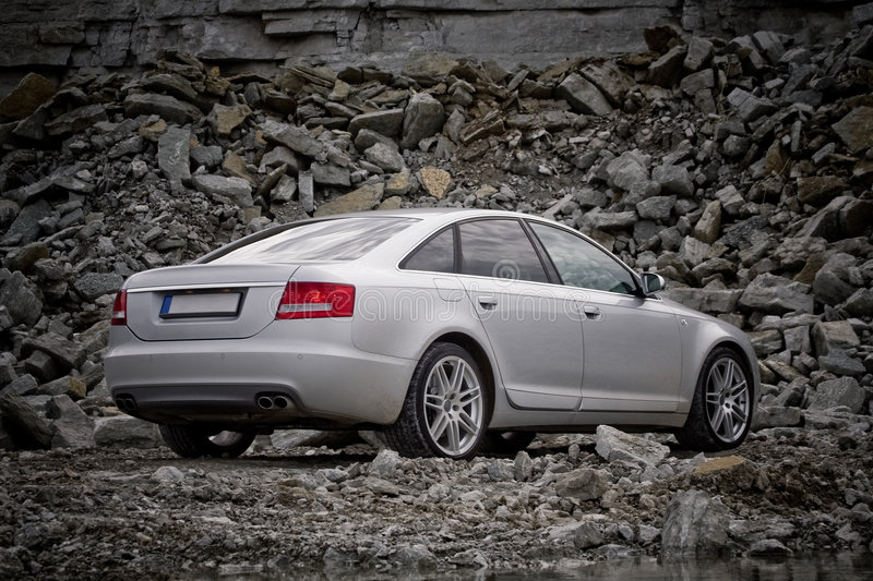 Rear view of a luxury car stock images