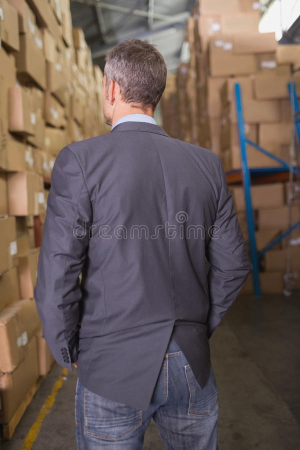Rear view of male manager in warehouse stock photo