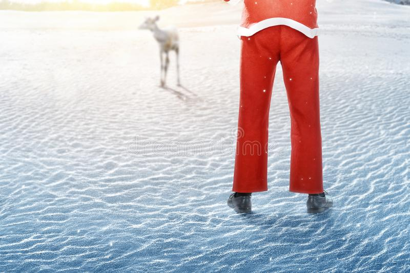 Rear view of man in Santa costume standing and looking at deer stock photography