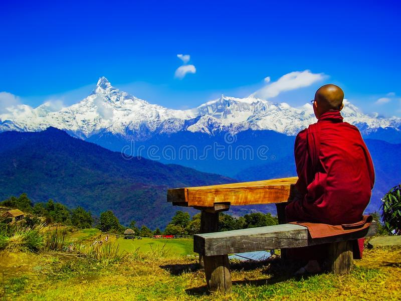 Rear View of a Man Sitting on Landscape royalty free stock images