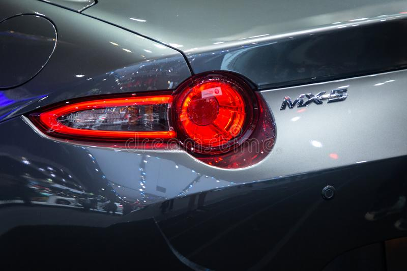 Thailand - Dec , 2018 : rear view of Mazda MX-5 luxury sports car presented in motor expo Nonthaburi Thailand . stock image