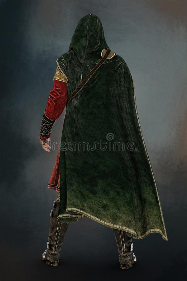 Rear View of a Medieval Ma. 3D digital rear view rendering of a cloaked fantasy medieval ranger or nobleman. Particularly suited to book cover art and design in stock illustration