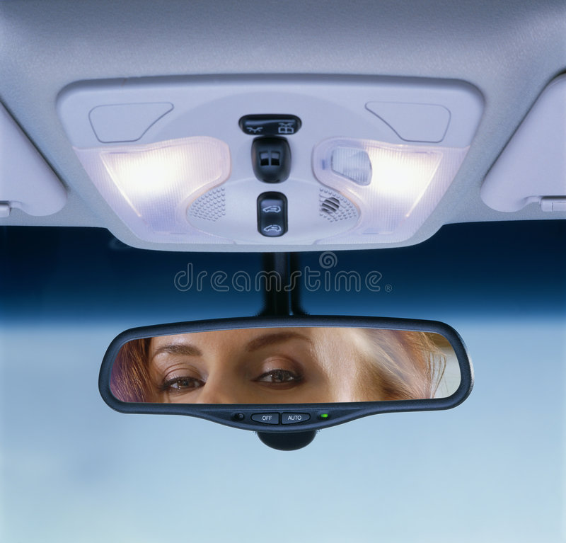 Rear-view mirror stock image