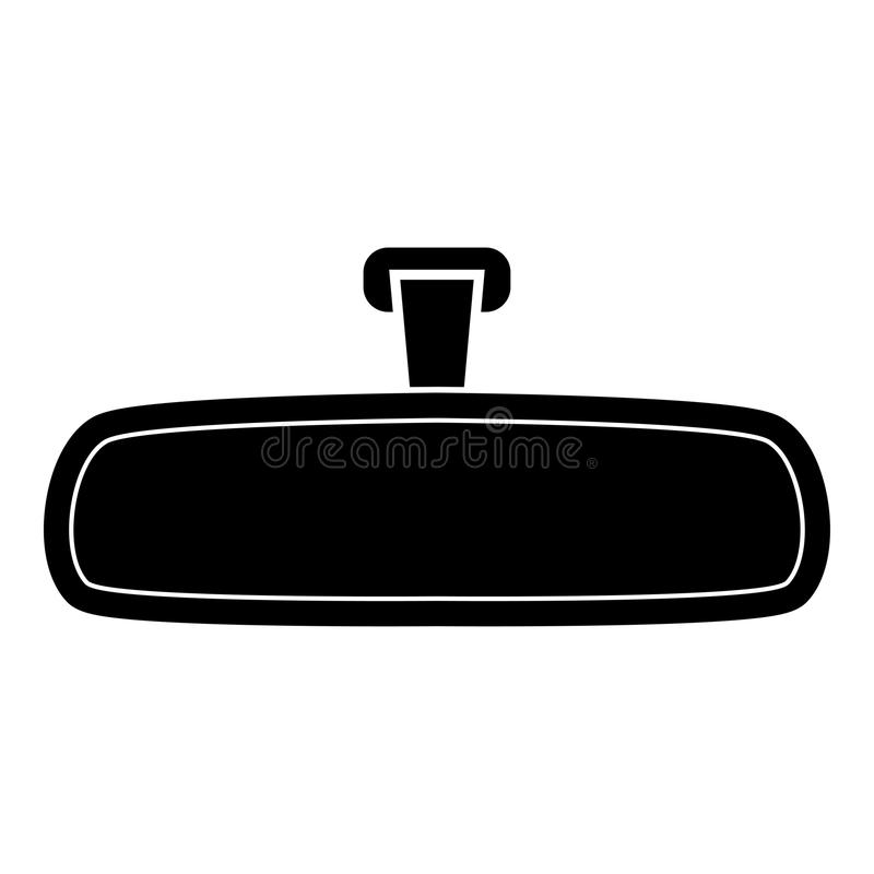 Rear view mirror icon black color illustration flat style simple image. Rear view mirror icon black color vector illustration flat style simple image stock illustration