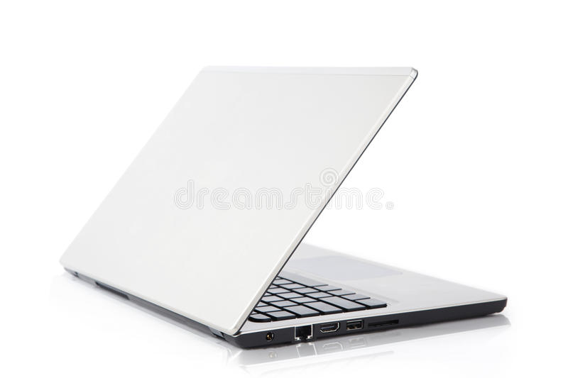 Rear View Of A Modern Laptop Stock Images