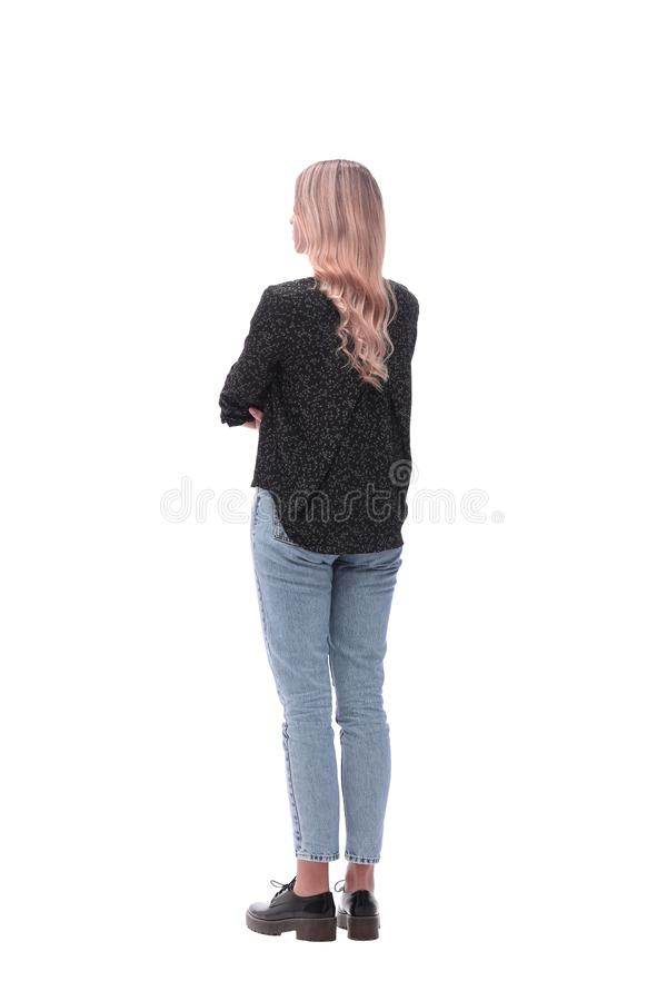 Rear view . modern young woman looking at copy space . royalty free stock photo