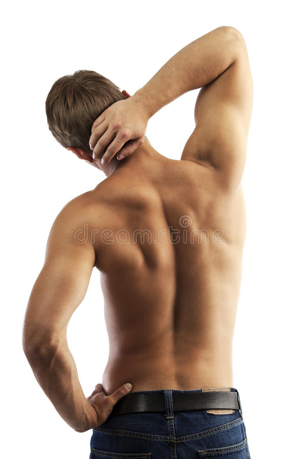 Rear view of a muscular with bare torso stock photo