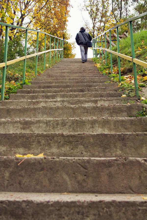Free Rear View Of A Man Walking Up Staircase Royalty Free Stock Images - 33214119