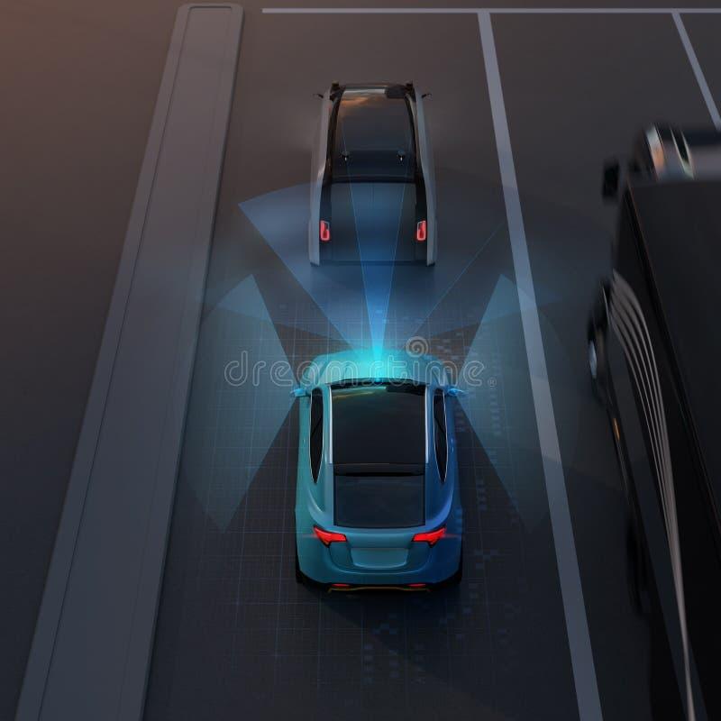 Free Rear View Of Blue SUV Emergency Braking To Avoid Car Crash Royalty Free Stock Photo - 116990675