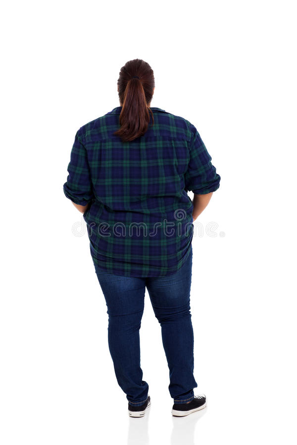 Rear view overweight royalty free stock image