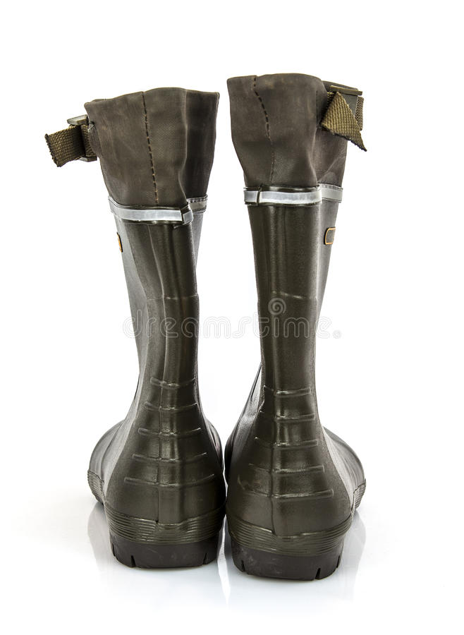 Rear View Of A Pair Of Wellington Boots Stock Photo