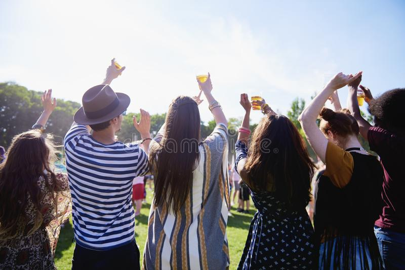 Rear view of people having good time in festival royalty free stock image